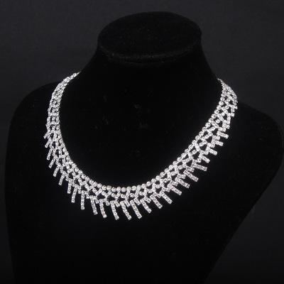 In stock Free Shipping Bridal Jewellery Sparkly Diamond Rhinestone Earrings Necklace Sets Cheap Wedding Jewelry Set For wedding Party