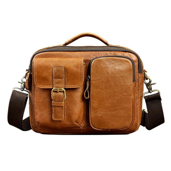 Genuine Leather Male Multifunction Fashion Casual Design  Crossbody Shoulder Messenger bag Tote Tablet Pouch Men 036l