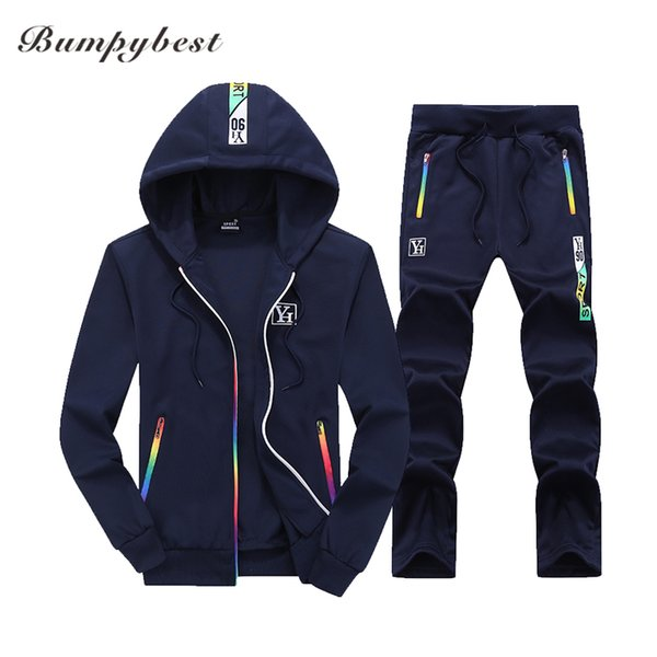 Bumpybeast Sporting Suit Mens Hoodie Zipper Cardigan Pants Suits Tracksuit Two Piece Set Men Clothing Sets Plus Asia Size M-4XL