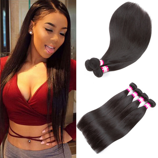 Best Quality Brazilian Virgin Straight Hair Wefts 8A Unprocessed Malaysian Filipino Peruvian Indian Remy Human Hair Weaves Straight 3/4pcs