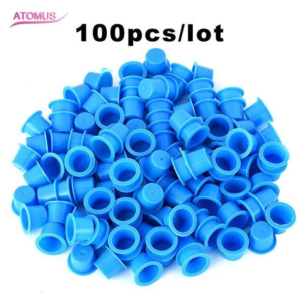100pcs Medium Size Tattoo Ink Cups Caps Clear Blue Plastic Pigment Holder For Tattoo Needle Kit Set Supply