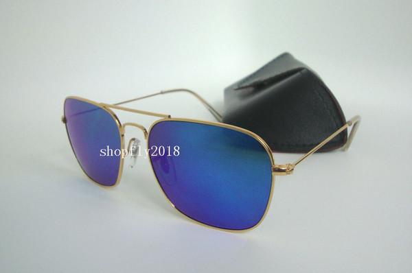 1Pair Rectangle Sunglasses For Mens Womens Metal CARAVAN Sun Glasses Eyewear Gold Blue 58mm Glass Flash Mirror Lenses With Black Case