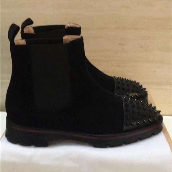 Auf 2018 Schuhe 39 Fashion Sohle Hot Dakuntop119 Nieten Rote 6 Schwarz Kette 46 Von Großhandel Qualität Männer Echtleder Hohe Stiefel Knöchel Mann ID29EH