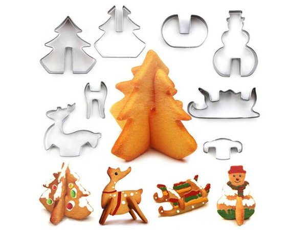 3D Christmas Cookie Cutter Stainless Steel Cake Cookie Mold Fondant Cutter DIY Baking Tools 8 pcs/set