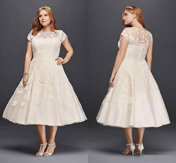 Vintage Tea-length Plus Size A-line Garden Outdoor Wedding Dresses 2018 Oleg Cassini Short Sleeve Holiday Beach Sheer Back Bridal Dress