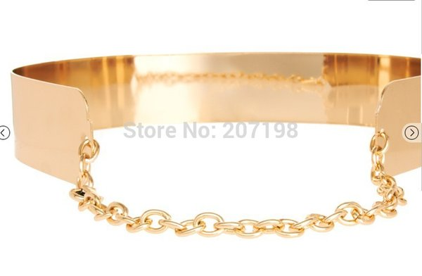 Fashion Women Belt Full Metal Plate Chain Belt Gold Corset for Women Summer Dress Bride & bridesmaid Shinny as Mirror