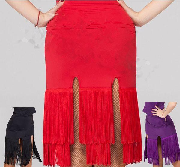 2018 Women Latin Dance Skirt Red/Black/Leopard Cocktail Dresses Milk Silk Samba/Salsa/Paso Doble Practice/Performance Dance Wear