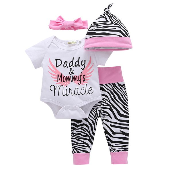 best selling 4pcs Newborn Infant Baby Girls Clothes Short Sleeve White Bodysuit Tops Zebra Pants Headband Cap Toddler Outfit Set Summer Clothing Romper