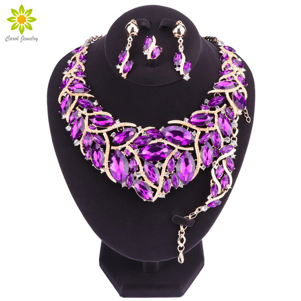 Fashion Purple Crystal Wedding Jewelry Sets For Bride Party Necklace Earrings Bracelet Ring Jewellery for Women
