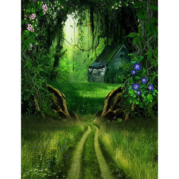 Deep Forest House Old Trees Photo Studio Backdrop Fairyland Flowers Green Grass Kids Children Spring Scenic Photography Backgrounds
