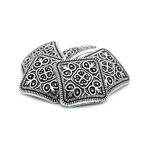 Meetee 50pcs/Lot 13*13mm metal buttons retail Flower pattern square antique silver women Metal buttons C2-61