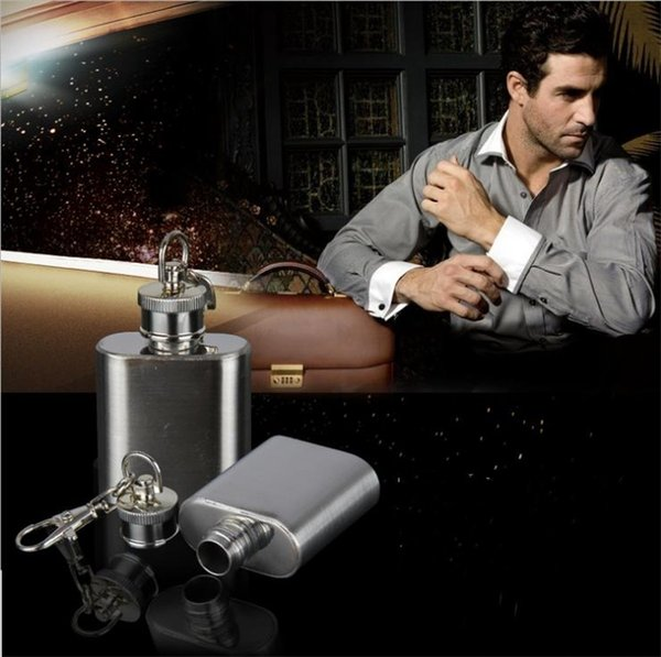 Newest Pocket Flask 1oz Stainless Steel Whisky Hip Flask portable party outdoor Keychain , wine bottle with Key chains Hip Flasks I369
