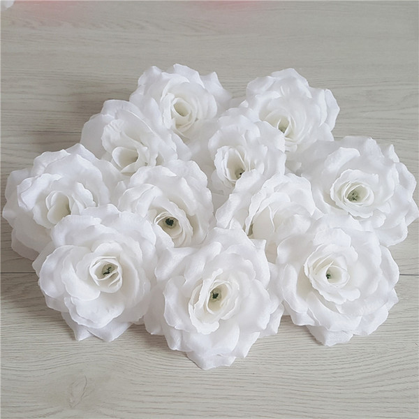 100Pcs Best Seller Flower Heads Artificial Silk Camellia Rose Fake Peony Flower Head 10cm For Wedding Party Home Decorative Rice White Rose