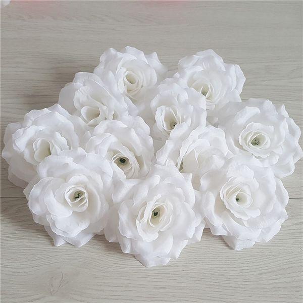 100 Unids Mejor Venta Jefes de Flores Seda Artificial Camelia Rosa Falso Peony Cabeza de Flor 10 cm Para el Banquete de Boda en Casa Decorativa Arroz Blanco Rosa