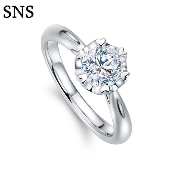 Anello di fidanzamento con diamante naturale 0,3 mm Anello in oro bianco 14k con stile aureola