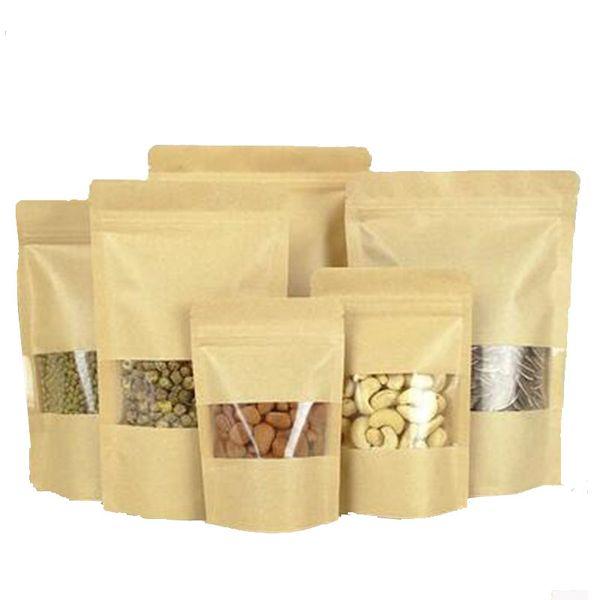 10 sizes Stand kraft paper zip lock gift packaging bag with zipper, craft ziplock packing bag with Window, coffee food storage