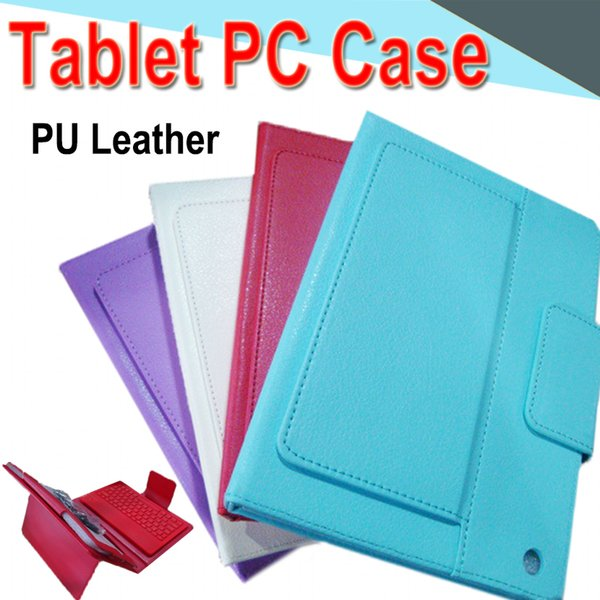 10inch Bluetooth Keyboard PU Leather Case with Stand Holder Built-in Card Buckled Leather Tablet Case for mini2 Tablet PC EXPT 100 Packs