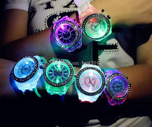 2017 2018 New Fashion Geneva Silicone Diamond Wristwatch Colorful Lights LED Luminous Quartz Watches Men and Women Watches