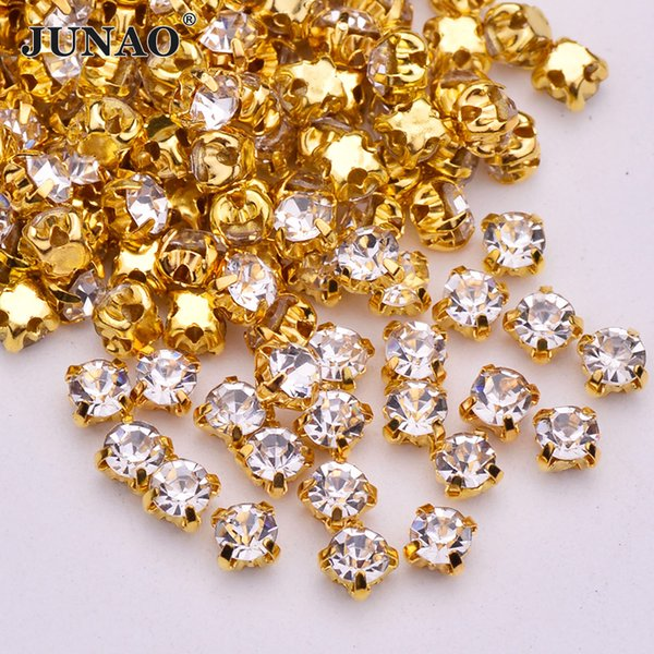 JUNAO 1440pcs SS16 Sewing Clear Glass Crystals Gold Silver Claw Rhinestone Flatback Sew On AB Crystal Stones For Clothes Jewelry Making