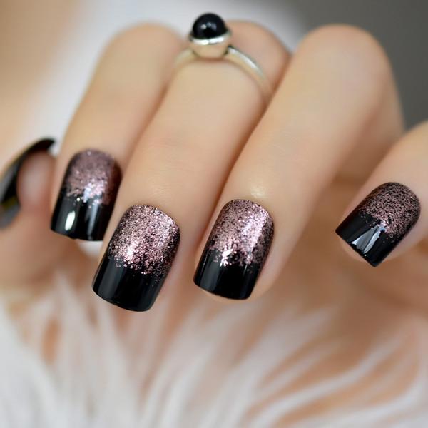 Studio 24 Unghie artificiali Quadrato nero medio finto unghie artistiche Suggerimenti Gel UV oro rosa Decorazione scintillio Shimmer Chiodo acrilico