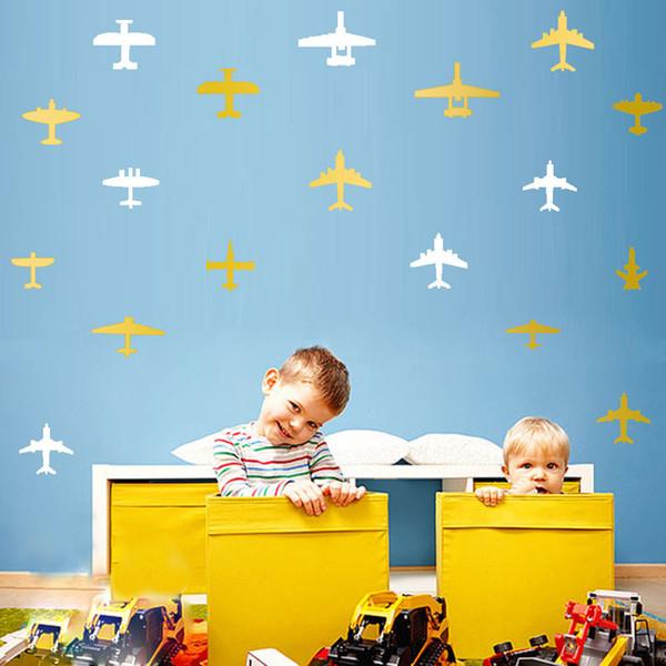 3D Cartoon Airplane Wall Stickers Wallpaper For Nursery Children Kids Bedroom Wall Poster Kindergarten Free shipping