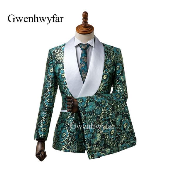 2018 горячий новый элегантный бренд шаль отворот свадебный мужской костюм цветок двубортный свадебные костюмы для мужчин Slim Fit формальная одежда для жениха смокинги Bl
