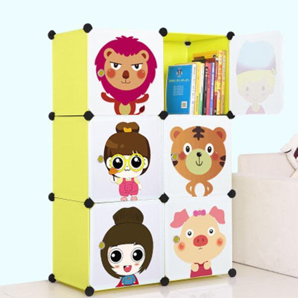 2018 DIY cartoon kids wardrobe child hanging clothes wardrobe self combine simple cabinet bedroom storage box