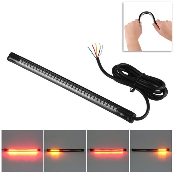 2pcs 2018 New Universal Motorcycle Tail Brake Stop Turn Signal Integrated LED Light Strip 48LED Flexible Signal Light License Plate Lamp