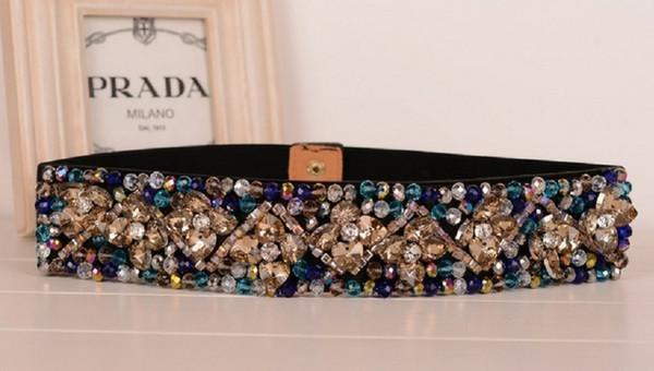 Cintura di moda femminile con strass di fiori colorati Cintura di moda elegante Cinture elastiche di cristallo da donna Cintura da corsetto in vita da donna Caestus