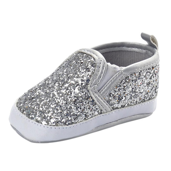 bling Silver unisex Crib Shoes Soft Sole Anti-slip Baby Sneakers Sequins Shoes Newborn Girls Boys elastic band gift to baby 40