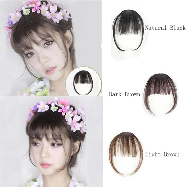 top popular Clip In Bangs Clip On Bangs 100% Real Natural Human Hair Extension In Front Neat Fringe Bangs For Women 2019