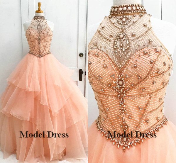 Sweet 16 Ball Gown Quinceanera Dresses 2018 High Neck Beading Crystal Tiered Princess 15 Years Girls Pageant Gowns Dresses Hot Sale