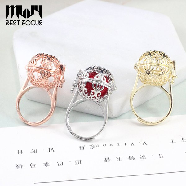 top popular Pearl Ring Settings Sliver Gold Plated Beads Locket Cages Pendants Settings 36*22mm DIY Rings Jewelry Can be opened Settings Gift 2019