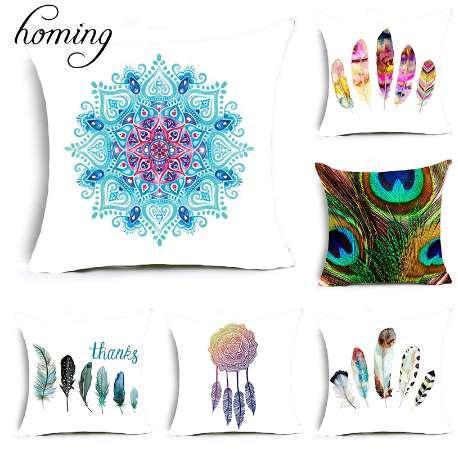 Homing New Travel Light Poliestere Colorful Mandala Flower Indian Feather Pattern Cuscino Decorazione camera da letto Federa
