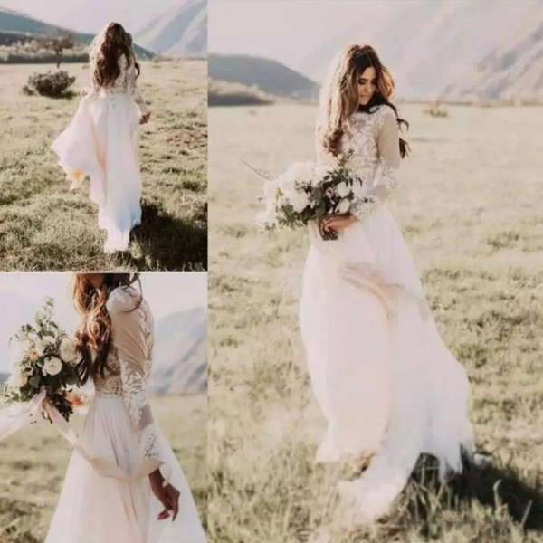 best selling 2020 Bohemian Country Wedding Dresses With Sheer Long Sleeves Bateau Neck Sheath Lace Applique Chiffon Boho Bridal Gowns Cheap