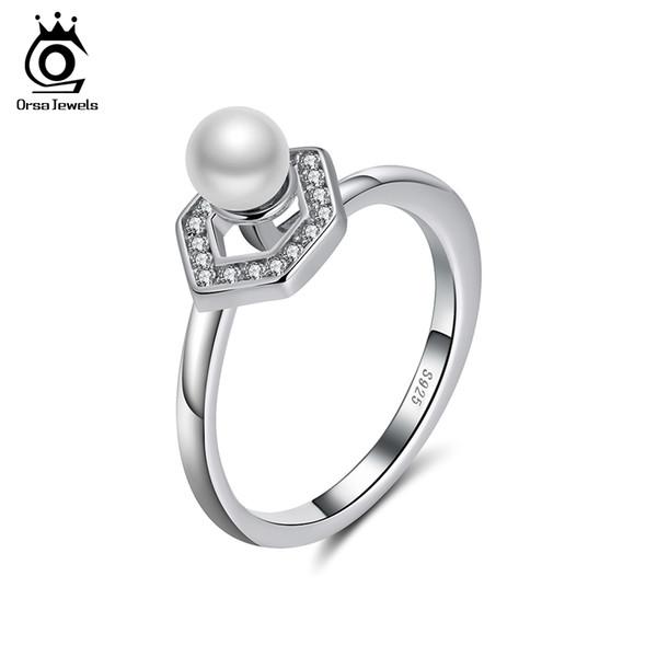 ORSA Original JÓIAS Genuine 925 Sterling Silver Mulheres Anéis de Design Exclusivo Favo De Mel Top Grade Simular Pérola Feminino Partido Jóias Anel SR95