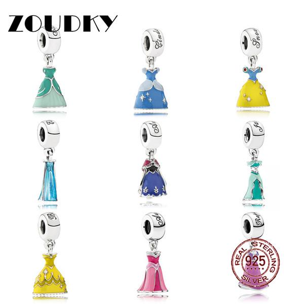 ZOUDKY Genuino 100% Plata 925 Hermosa Princesa Dress Charm Beads Fit Mujeres Colgante Collar Pulsera Envío Gratis