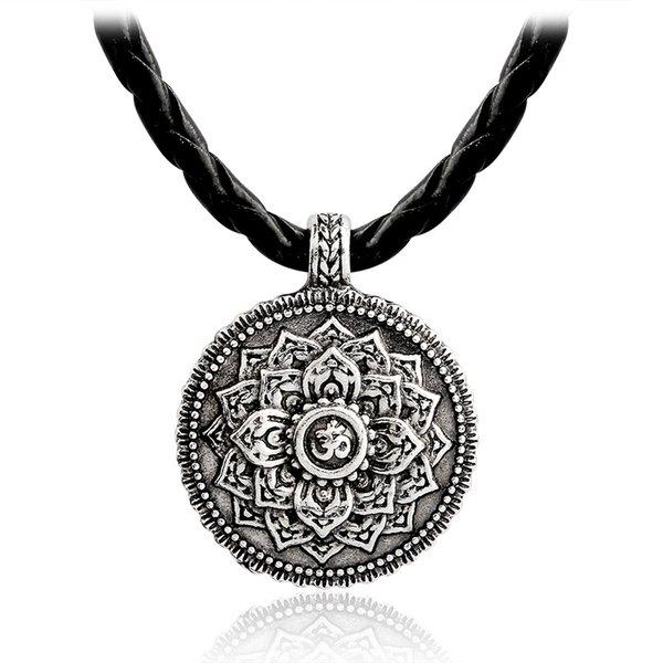 Retro Silver Gothic Knot Yoga Charm Indian Women Jewelry Tibetan Mandala Pendant Necklace Solomon Jewelry
