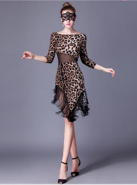 Donne leopardo ballo vestito da ballo rumba ballare valzer tango spagnolo flamenco standard ragazze nappe latino costumi moderni gonna