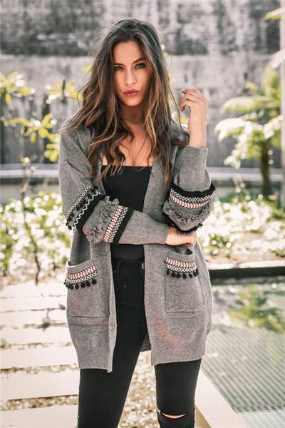 Mujeres Boho manga larga frente abierta Cardigan de punto con bolsillos 2018 DHL Moda mujer capa bohemia de punto suéter Outwear capa Tops