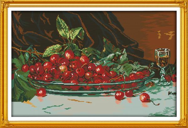 Ölgemälde Kirschen Obst Dekor Gemälde, Handmade Cross Stitch Stickerei Hand Sets gezählt Druck auf Leinwand DMC 14CT / 11CT