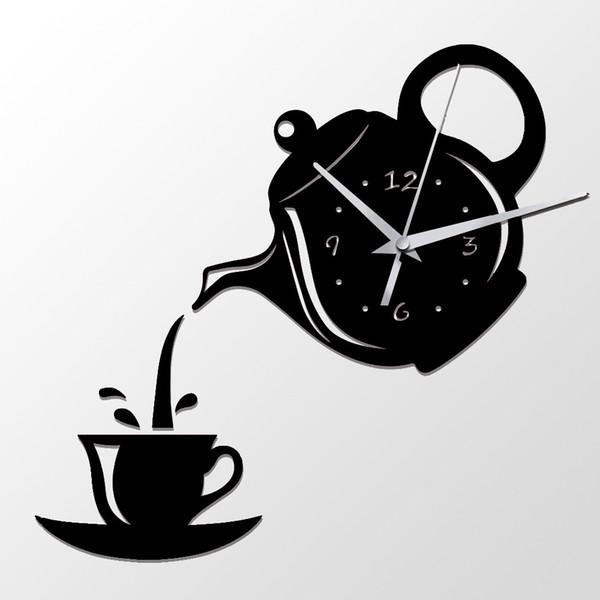 Acquista Orologio Da Parete Creativo Fai Da Te Acrilico Coffee Cup Teiera  3D Decorativo Cucina Orologi Da Parete Soggiorno Sala Da Pranzo Home Decor  ...
