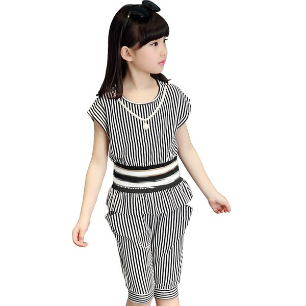 3-13 Years Toddler Girls Summer Clothing Set 2018 Short Sleeve Striped Shirt + Pant 2pcs Kids Clothes Vetement Enfant Fille