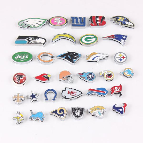 32 Takım Amerikan Futbolu Hayranları Için Logosu Slayt Takılar Spor Bilezik Takı 8mm ABD Futbol Slayt Takılar Her Takım 1 adet