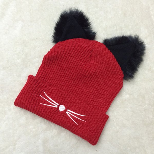 Winter Woolen Hiking Hat Knitting Devil Horns Cat Ear Crochet Braided Knitted Fur Cap Noverlty Girls Cap