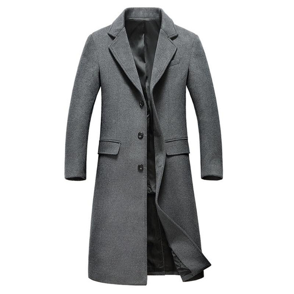 Wholesale- Mens Fashion Woolen Overcoat Mens Turn-down Collar X-long Single Breasted Wool Overcoat Hight Quality Mens Casual Coat