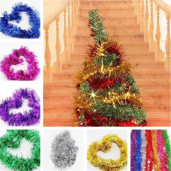Christmas Ornament Tops.2m Christmas Ribbon Bling Tops Garland Christmas Tree Decoration Halloween Wedding Party Hanging Ornaments Online Shopping Christmas Decorations