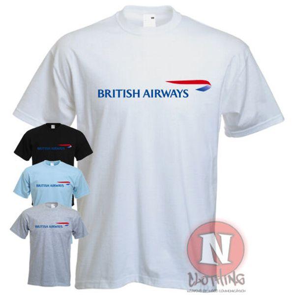 Naughtees Clothing Logo British Airways T-shirt de collectionneur de compagnies aériennes pour hommes neufs