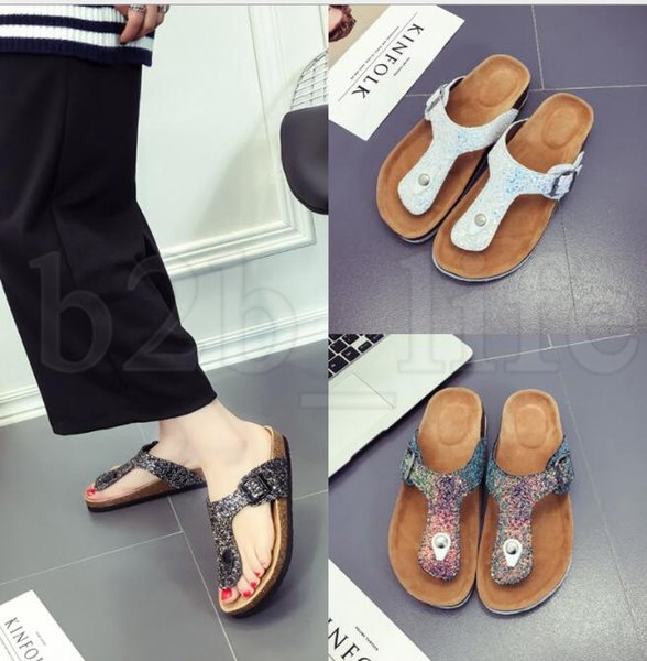 women Flip-flops Sequins Summer Sandles Cork Slippers Antiskid Beach Sandals Fashion Girl Slippers Casual Cool Slippers Sandalias KKA5509
