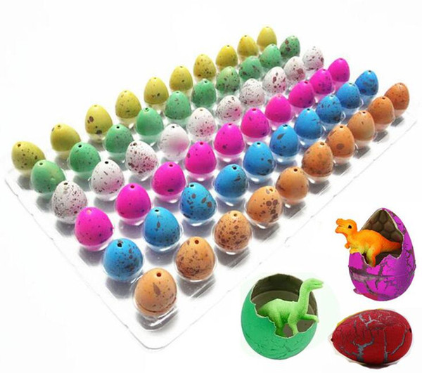60pcs/lot Novelty Gag Toys Children Toys Cute Magic Hatching GrowinAnimal Dinosaur Eggs For Kids Educational Toys Gifts GYH A-660